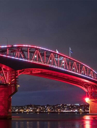Image of the Auckland Harbour Bridge with pink and red lights at night, with the Auckland cityscape in the background