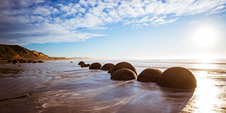 Stylised image of the iconic Moeraki Boulders located near Dunedin