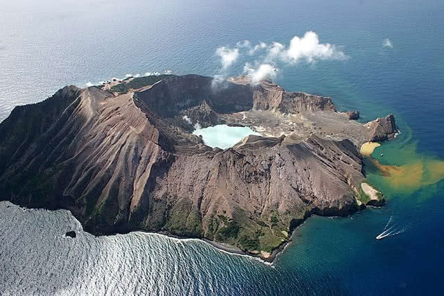 Aerial image of the active volcano on New Zealand's White Island