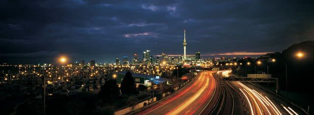 Image taken of the Auckland skyline at night with the Skytower clearly visible