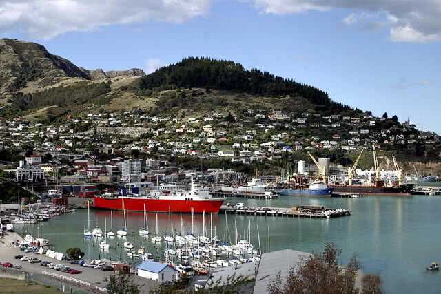 Image of Lyttelton harbour which is located just outside of Christchurch, New Zealand