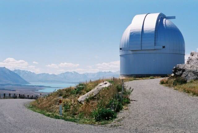 Image of the observatory on Mt John in Canterbury, New Zealand with views looking out towards Lake Tekapo