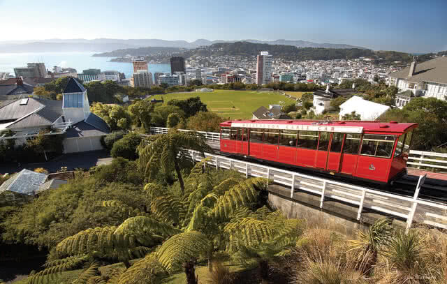 Image of the Wellington Cable Car taking people from Lambton Quay to the top entrance of the Botanic Gardens