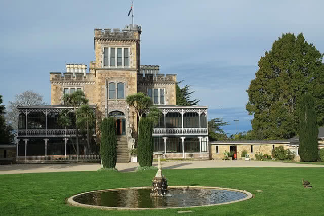 Image of the front of Larnach Castle and Fountain in Dunedin