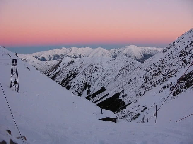 Craigieburn ski resort at sunset