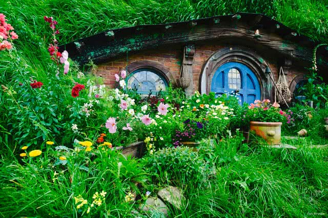 Image of a hobbit hole from the Hobbiton set in Matamata - Lord of the Rings location