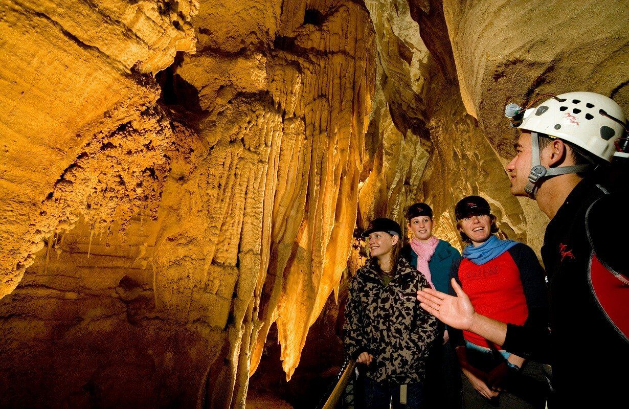 Tourists at Waitomo Caves