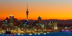 Image of the Auckland skyline at sunset taken from Devonport - mobile