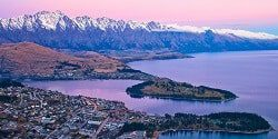 Image looking down on Queenstown and Lake Wakatipu from the top of the Skyline Gondola as dusk - mobile