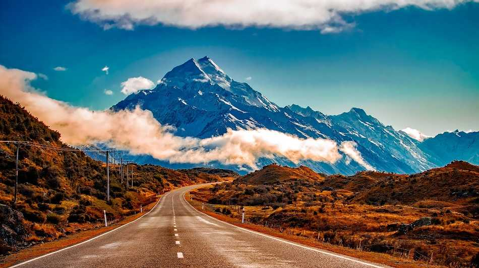 New Zealand Road with Mountain in background